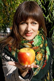 Happy Woman With Apple Royalty Free Stock Images