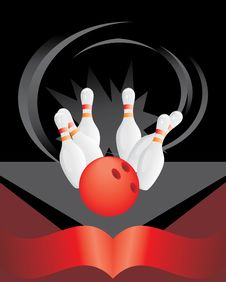 Free Bowling Pins And Red Ball Royalty Free Stock Photos - 16671158