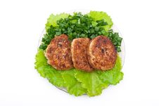 Free Cutlets On Salad Leaves Royalty Free Stock Image - 16672226