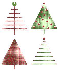 Set Of Christmas Trees Stock Photos