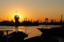 Free Sunset Over Industrial Harbour Stock Images - 16673184