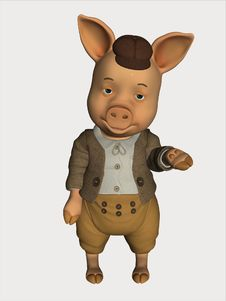 Free 3D Render Cartoon Pig Stock Photos - 16673243