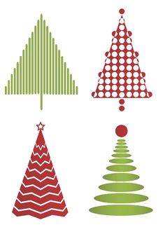 Free Set Of Modern Christmas Trees Stock Photos - 16673263