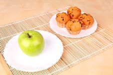 Free Apple And Cakes On White Plates Royalty Free Stock Photography - 16675817