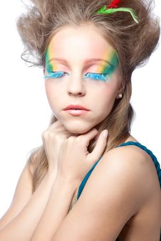 Free Beautiful Woman  With Color Makeup Royalty Free Stock Photography - 16675977