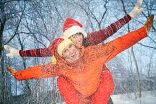 Playing Couple In Winter Stock Photography
