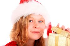 Miss Santa Is Opening A Golden Gift Box Stock Images