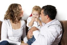Free Happy Family At Home Over White Royalty Free Stock Photo - 16676425