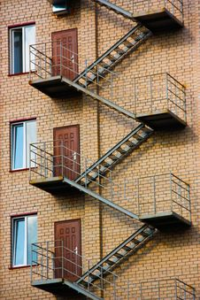 Free Fire Escape On The Facade Of The Building Royalty Free Stock Image - 16676696