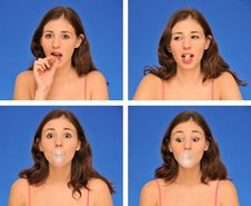 Free Beautiful Woman Chewing Bubble Gum Royalty Free Stock Images - 16677059
