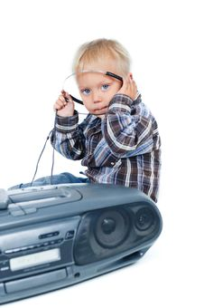 Free Little Cute Boy Listens To The Music Stock Images - 16679264