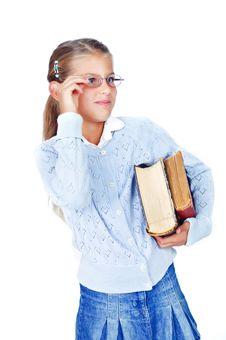 Beautiful Schoolgirl In Glasses With Books. Stock Photo