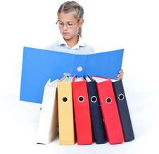 Business Girl With Office Folders. Royalty Free Stock Images