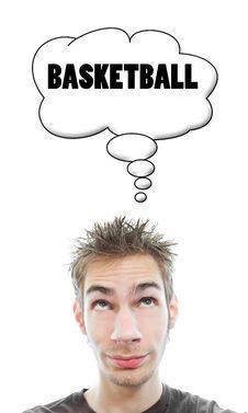 Free Young Man Thinks Basketball Stock Photos - 16679683