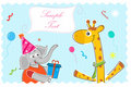 Free Elephant Wishing Giraffe Happy Birthday Stock Images - 16684784