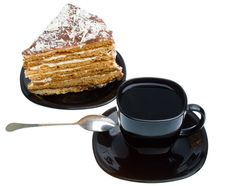Free Piece Of Honey Cake And Tea Cup Royalty Free Stock Image - 16681026
