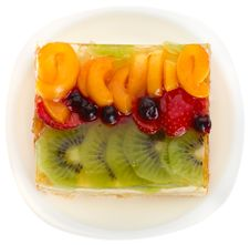 Free Curd Cake With Jellied Fruits And Berries Stock Photography - 16681052