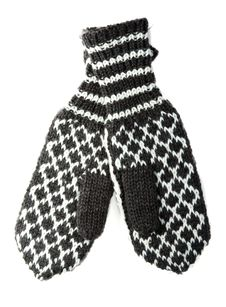 Free Knitted Winter Mittens With Pattern Royalty Free Stock Images - 16681179