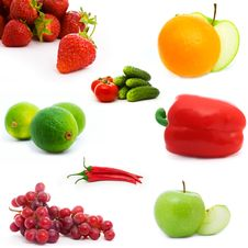 Free Set Of Fruits And Vegetables Royalty Free Stock Images - 16681349