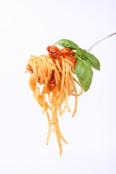 Free Spaghetti Bolognese On A Fork Stock Photo - 16683310