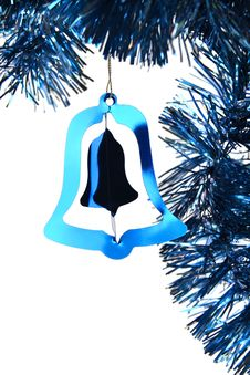 Free Blue Shiny Christmas Tinsel Bell Royalty Free Stock Photos - 16684638