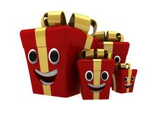 Free Happy Isolated Gift Boxes Royalty Free Stock Photos - 16685678