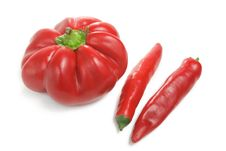 Free Bulgarian Adn Chili Pepper Over White Royalty Free Stock Photography - 16686247