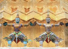 Free Two Demons In The Grand Palace Temple Royalty Free Stock Images - 16686479