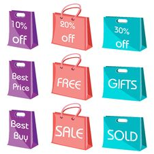 Set Of Shopping Bags With Tags Stock Images