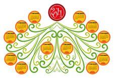 Horizontal Decorative Calendar For 2011 Royalty Free Stock Photography