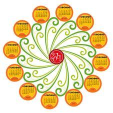 Spiral Decorative Calendar For 2011 Stock Image