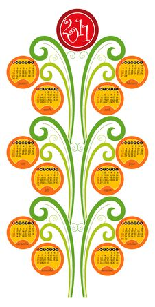 Free Vertical Decorative Calendar For 2011 Stock Photography - 16688672