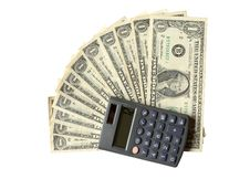 Free Twelve Dollars And Calculator Royalty Free Stock Images - 16688849