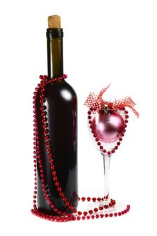 Bottle With Red Wine And Decoration For Christmas Royalty Free Stock Photo