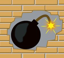 Free Bomb In Wall From Brick Royalty Free Stock Images - 16689609