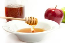 Free Plate With The Fresh Honey And Apples Stock Photo - 16690770