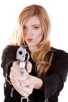 Blond Smirk Gun Stock Image