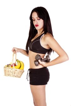 Free Fitness Fruit Basket Weights Look Down Stock Photography - 16693752