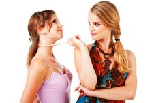 Free Charming Young Girls In Colorful Dress Stock Photo - 16693840