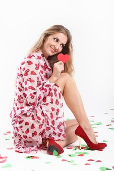 Free Blond Girl With Valentine Card Royalty Free Stock Photography - 16694447