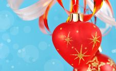 Free Christmas Balls On A Blue Background Royalty Free Stock Image - 16694896