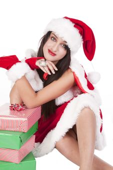 Mrs Santa Arms On Gifts Stock Photos