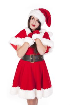 Free Mrs Santa Dark Hair Thinking Royalty Free Stock Image - 16695706