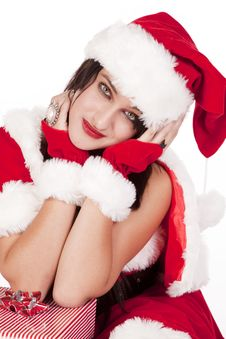 Mrs Santa Elbows On Gifts Smile Stock Photography