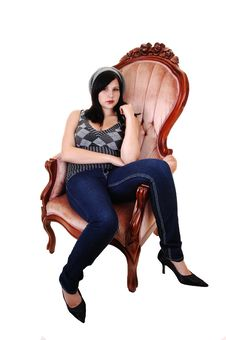 Free Girl Sitting In Armchair. Royalty Free Stock Photo - 16696145
