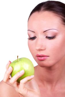 Free Woman Looking At Green Apple In Hand Stock Photo - 16696210