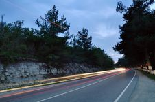 Free Turn On A Mountain Line At Night Royalty Free Stock Photography - 16696687
