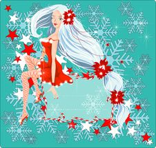 Sexy Santa Girl Card Royalty Free Stock Photography