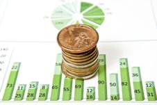 Free Coins And Green Chart Royalty Free Stock Images - 16697049