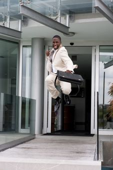 Free Businessman Jumping Of Happiness Royalty Free Stock Image - 16697646